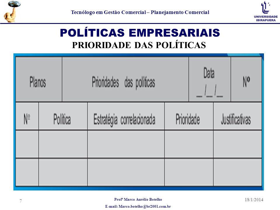 Profª Marco Aurélio Botelho E-mail: Marco.botelho@br2001.com.br Tecnólogo em Gestão Comercial – Planejamento Comercial 18/1/2014 7 POLÍTICAS EMPRESARI