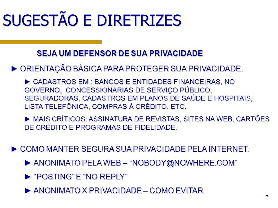 7 SUGESTÃO E DIRETRIZES ORIENTAÇÃO BÁSICA PARA PROTEGER SUA PRIVACIDADE. ORIENTAÇÃO BÁSICA PARA PROTEGER SUA PRIVACIDADE. CADASTROS EM : BANCOS E ENTI