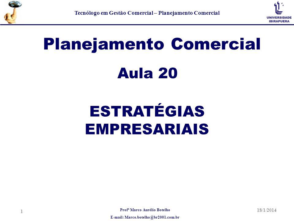 Profª Marco Aurélio Botelho E-mail: Marco.botelho@br2001.com.br Tecnólogo em Gestão Comercial – Planejamento Comercial Planejamento Comercial Aula 20