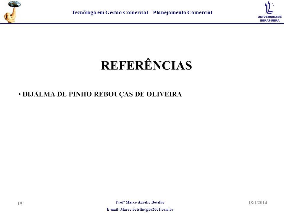 Profª Marco Aurélio Botelho E-mail: Marco.botelho@br2001.com.br Tecnólogo em Gestão Comercial – Planejamento Comercial REFERÊNCIAS DIJALMA DE PINHO RE