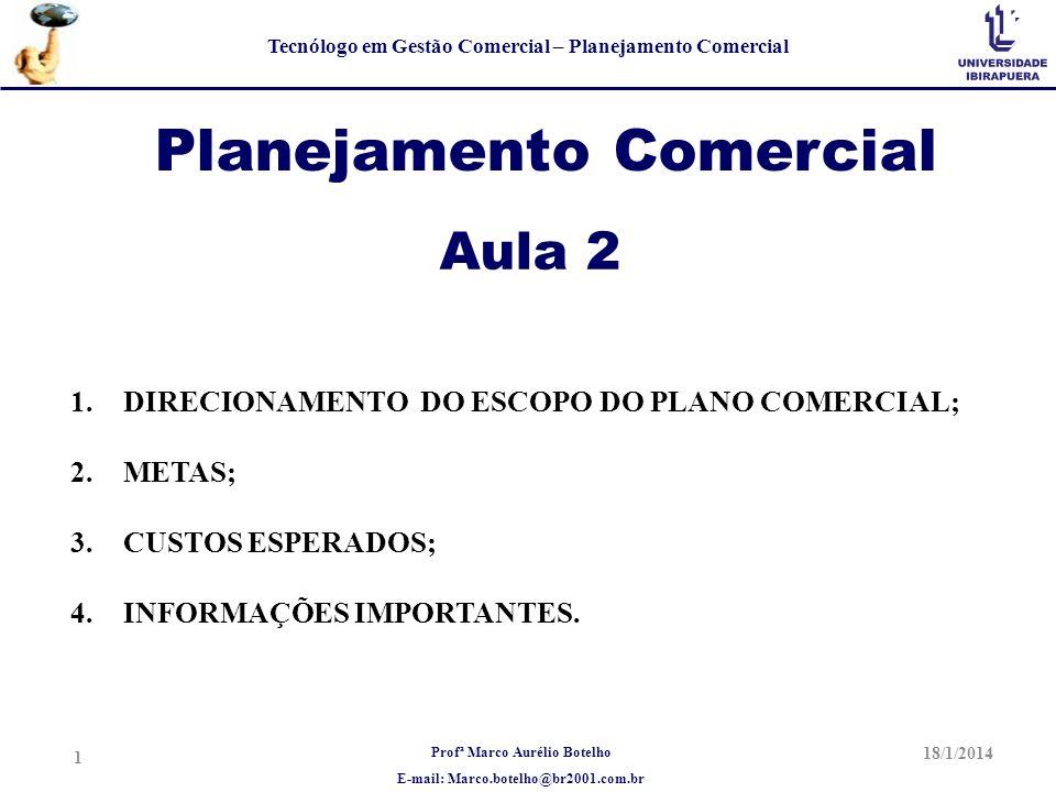 Profª Marco Aurélio Botelho E-mail: Marco.botelho@br2001.com.br Tecnólogo em Gestão Comercial – Planejamento Comercial Planejamento Comercial Aula 2 1