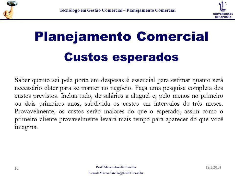 Profª Marco Aurélio Botelho E-mail: Marco.botelho@br2001.com.br Tecnólogo em Gestão Comercial – Planejamento Comercial Planejamento Comercial Saber qu