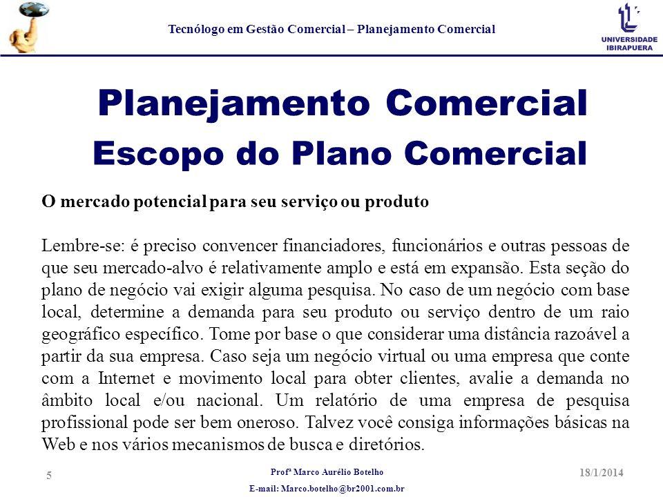 Profª Marco Aurélio Botelho E-mail: Marco.botelho@br2001.com.br Tecnólogo em Gestão Comercial – Planejamento Comercial Planejamento Comercial O mercad