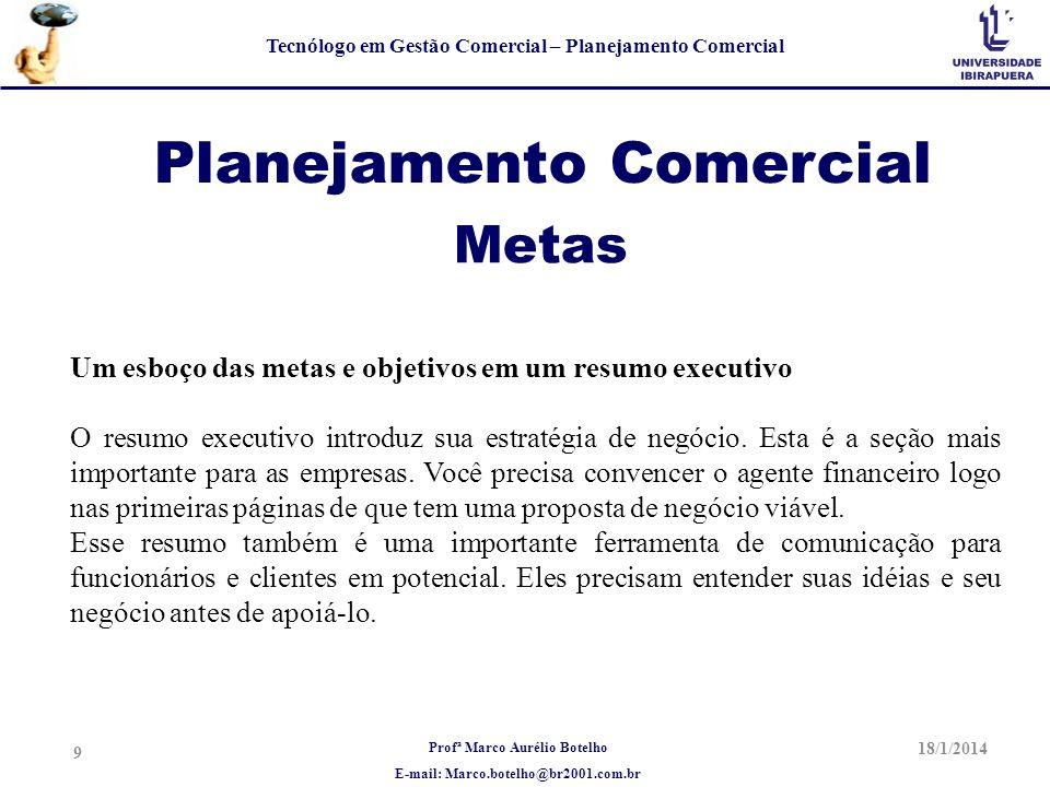 Profª Marco Aurélio Botelho E-mail: Marco.botelho@br2001.com.br Tecnólogo em Gestão Comercial – Planejamento Comercial Planejamento Comercial Um esboç