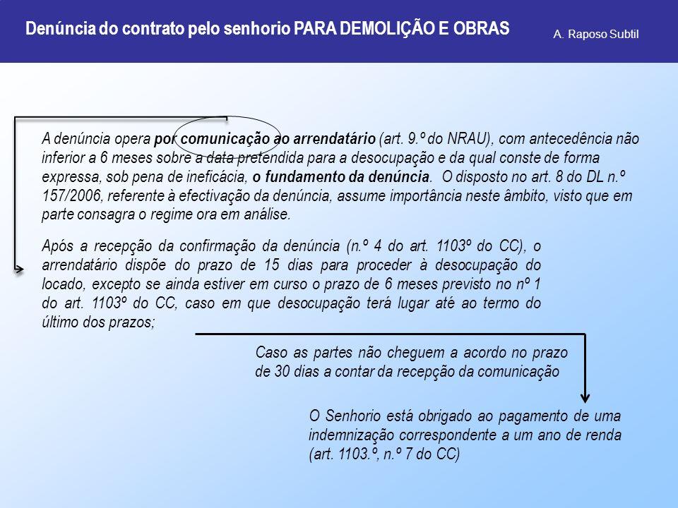A. Raposo Subtil A denúncia opera por comunicação ao arrendatário (art. 9.º do NRAU), com antecedência não inferior a 6 meses sobre a data pretendida
