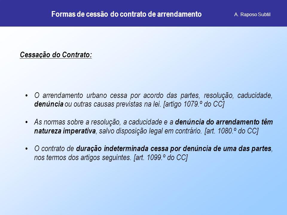 Denúncia do contrato pelo ARRENDATÁRIO A.