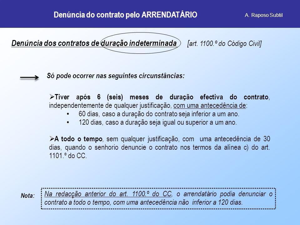 A. Raposo Subtil duração indeterminada Denúncia dos contratos de duração indeterminada [ art. 1100.º do Código Civil] Só pode ocorrer nas seguintes ci