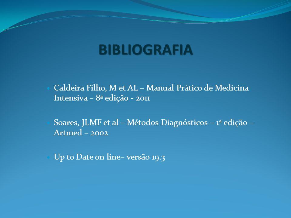 BIBLIOGRAFIA Caldeira Filho, M et AL – Manual Prático de Medicina Intensiva – 8ª edição - 2011 Soares, JLMF et al – Métodos Diagnósticos – 1ª edição –