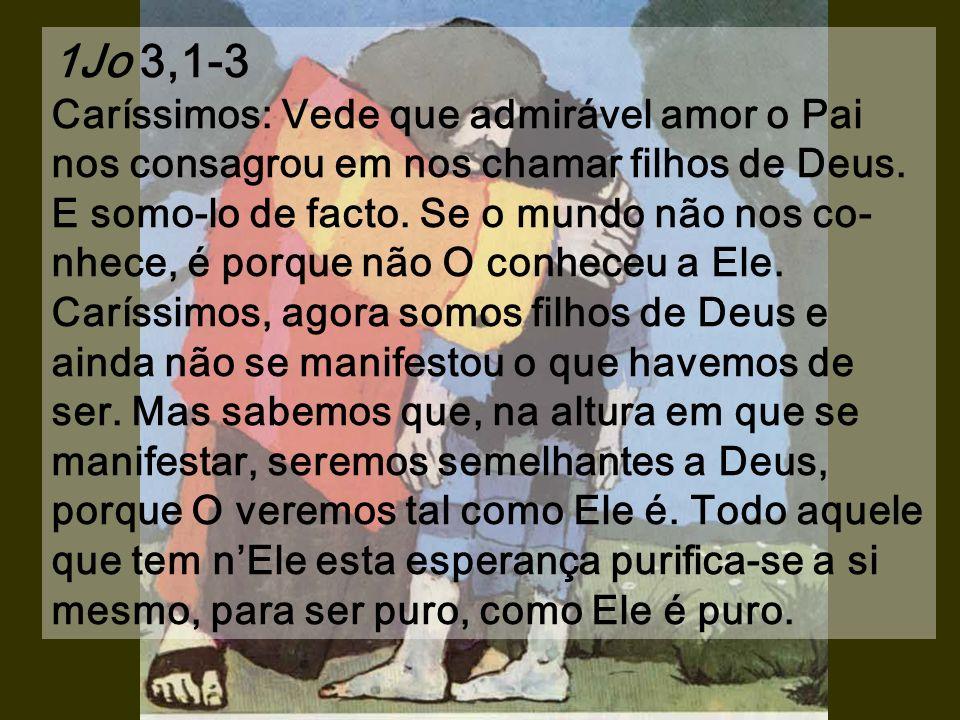 1Jo 3,1-3 Caríssimos: Vede que admirável amor o Pai nos consagrou em nos chamar filhos de Deus.