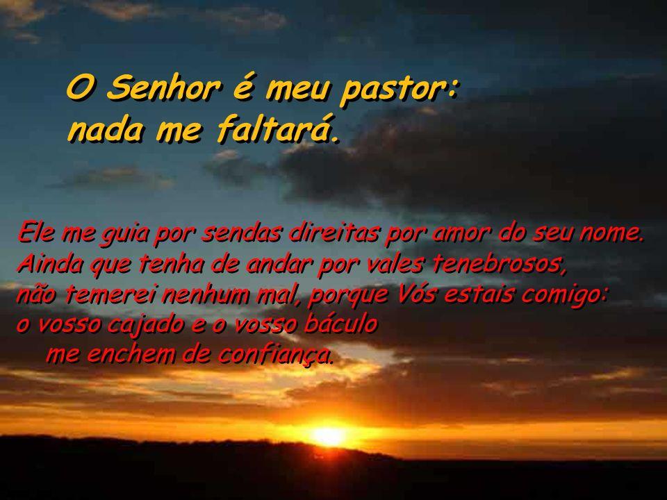 Salmo 22 O Senhor é meu pastor: nada me faltará. O Senhor é meu pastor: nada me faltará. O Senhor é meu pastor: nada me falta. Leva-me a descansar em