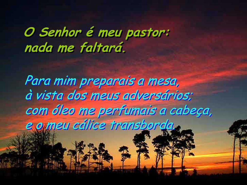 O Senhor é meu pastor: nada me faltará. O Senhor é meu pastor: nada me faltará. Ele me guia por sendas direitas por amor do seu nome. Ainda que tenha
