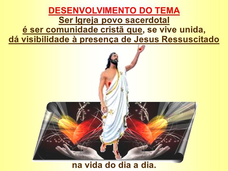 DESENVOLVIMENTO DO TEMA Ser Igreja povo sacerdotal é ser comunidade cristã que, se vive unida, dá visibilidade à presença de Jesus Ressuscitado na vid