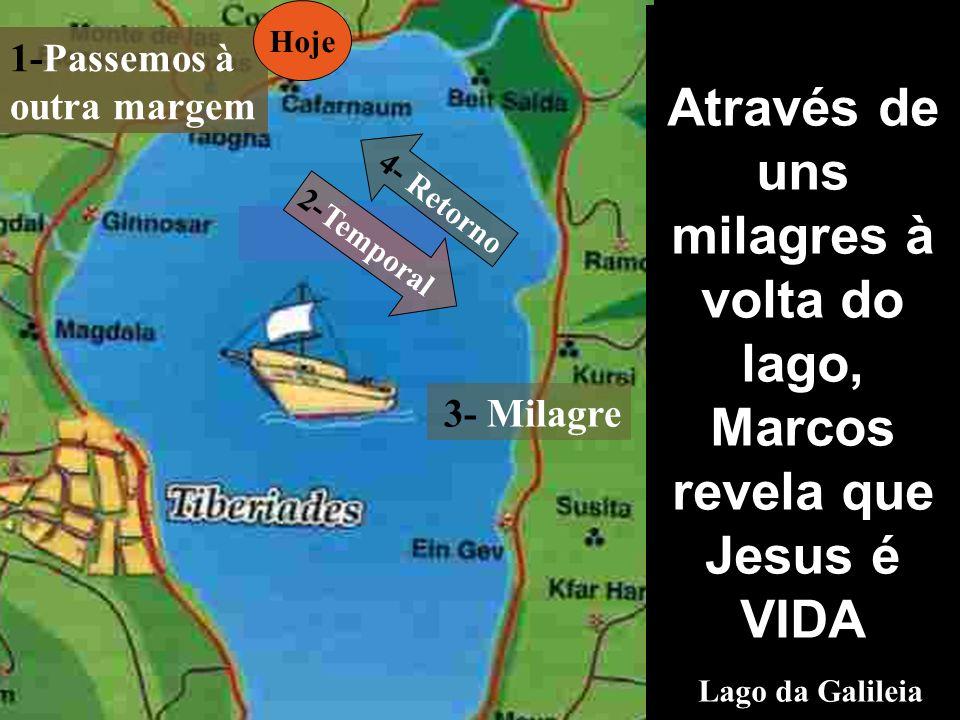 Através de uns milagres à volta do lago, Marcos revela que Jesus é VIDA Lago da Galileia 1-Passemos à outra margem 3- Milagre 2-Temporal 4- Retorno Hoje