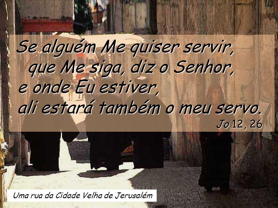 Uma rua da Cidade Velha de Jerusalém Se alguém Me quiser servir, que Me siga, diz o Senhor, que Me siga, diz o Senhor, e onde Eu estiver, e onde Eu estiver, ali estará também o meu servo.