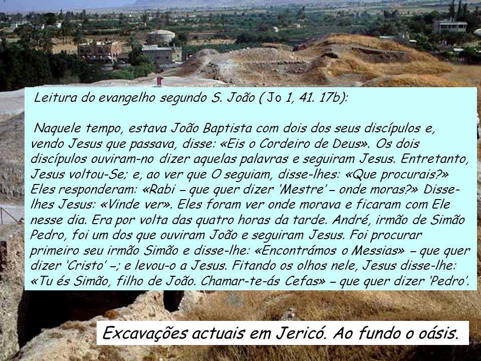 Excavações actuais em Jericó.Ao fundo o oásis. Leitura do evangelho segundo S.