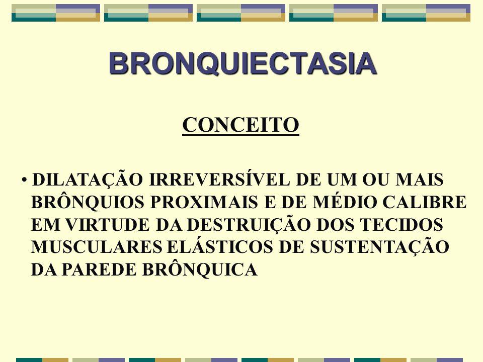 BRONQUIECTASIA ETIOLOGIA FATORES PREDISPONENTES INFECCÕES BRONCOPULMONARES OBSTRUÇÃO BRÔNQUICA DEFEITOS ANATÔMICOS CONGÊNITOS ESTADOS DE IMUNODEFICIÊNCIA DEFEITOS HEREDITÁRIOS OUTROS