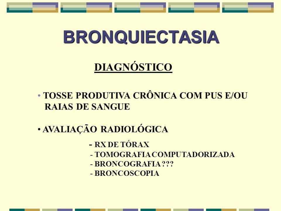 BRONQUIECTASIA DIAGNÓSTICO TOSSE PRODUTIVA CRÔNICA COM PUS E/OU RAIAS DE SANGUE AVALIAÇÃO RADIOLÓGICA - RX DE TÓRAX - TOMOGRAFIA COMPUTADORIZADA - BRO