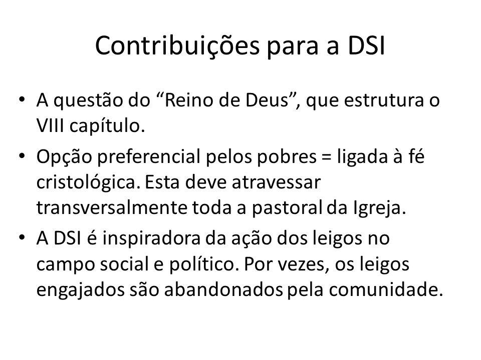 Contribuições para a DSI A questão do Reino de Deus, que estrutura o VIII capítulo. Opção preferencial pelos pobres = ligada à fé cristológica. Esta d