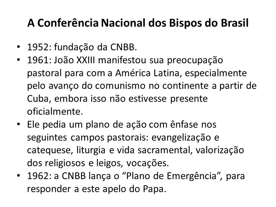 A Conferência Nacional dos Bispos do Brasil 1952: fundação da CNBB. 1961: João XXIII manifestou sua preocupação pastoral para com a América Latina, es