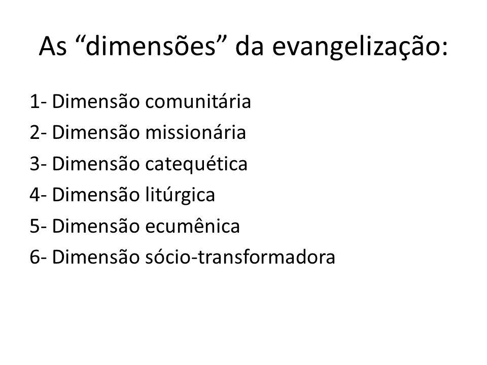 As dimensões da evangelização: 1- Dimensão comunitária 2- Dimensão missionária 3- Dimensão catequética 4- Dimensão litúrgica 5- Dimensão ecumênica 6-