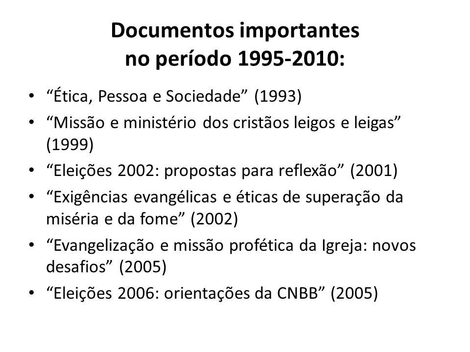 Documentos importantes no período 1995-2010: Ética, Pessoa e Sociedade (1993) Missão e ministério dos cristãos leigos e leigas (1999) Eleições 2002: p