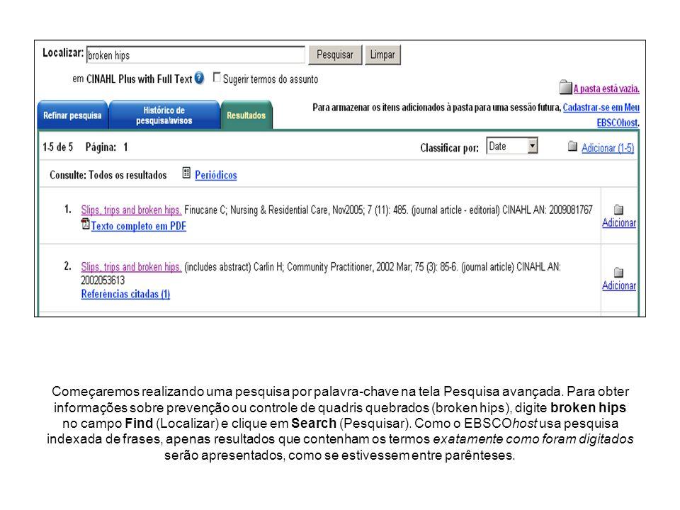 Clique no ícone de Adicionar pasta para coletar resultados na pasta (temporária) da sessão.