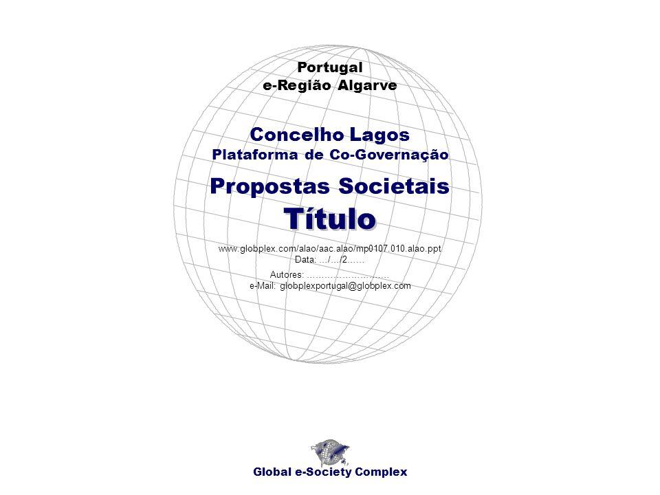 Propostas Societais Portugal e-Região Algarve Global e-Society Complex www.globplex.com/alao/aac.alao/mp0107.010.alao.ppt Data: …/…/2…… Concelho Lagos
