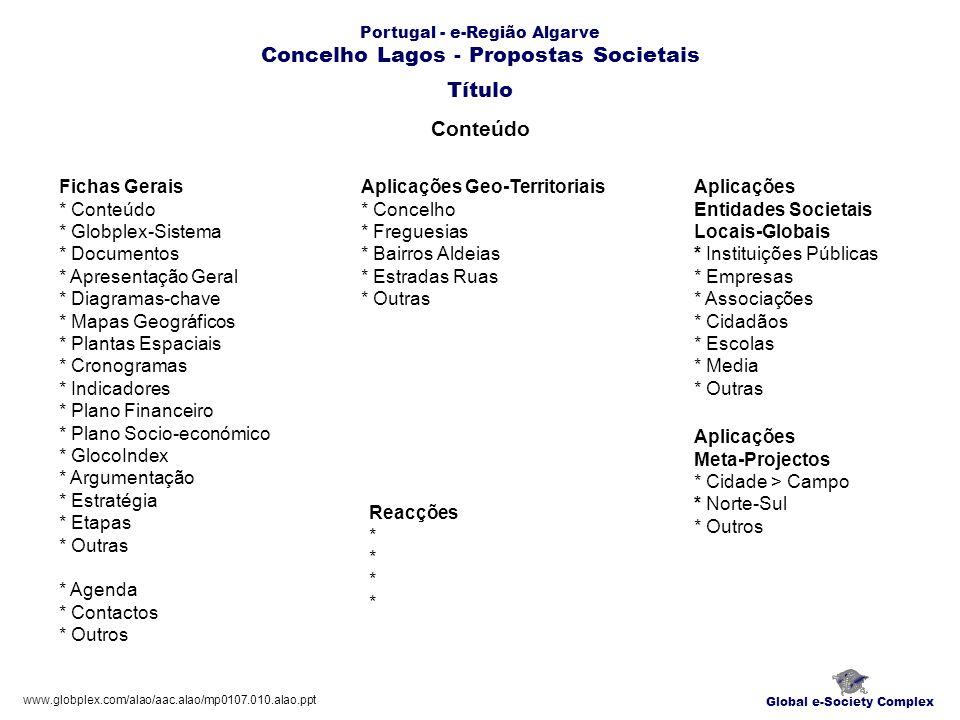 Portugal - e-Região Algarve Concelho Lagos - Propostas Societais Conteúdo Global e-Society Complex Fichas Gerais * Conteúdo * Globplex-Sistema * Docum