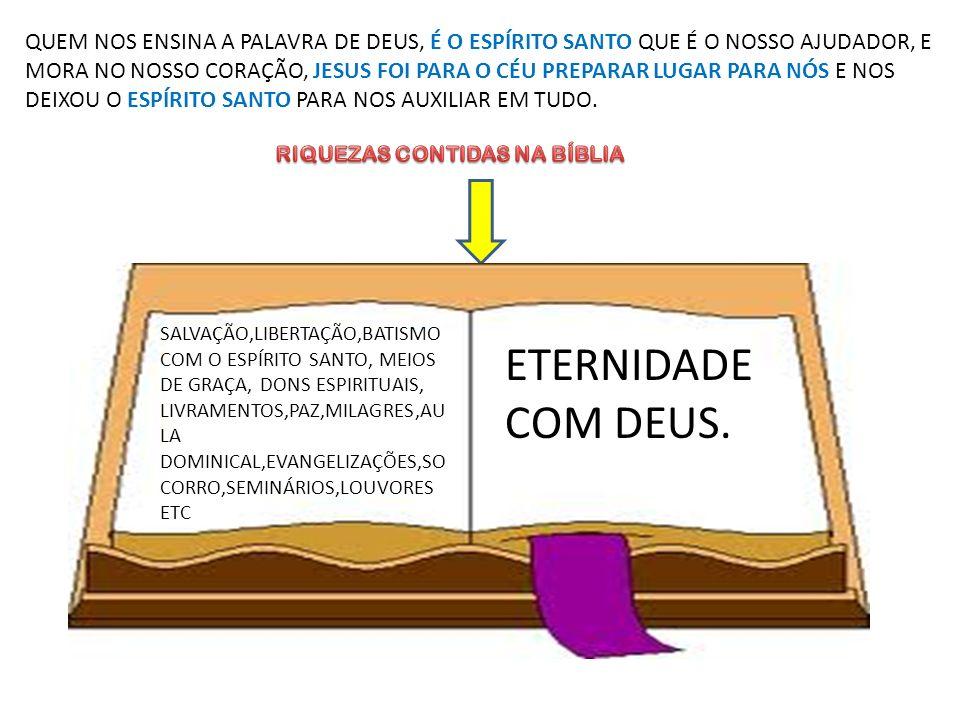 QUEM NOS ENSINA A PALAVRA DE DEUS, É O ESPÍRITO SANTO QUE É O NOSSO AJUDADOR, E MORA NO NOSSO CORAÇÃO, JESUS FOI PARA O CÉU PREPARAR LUGAR PARA NÓS E