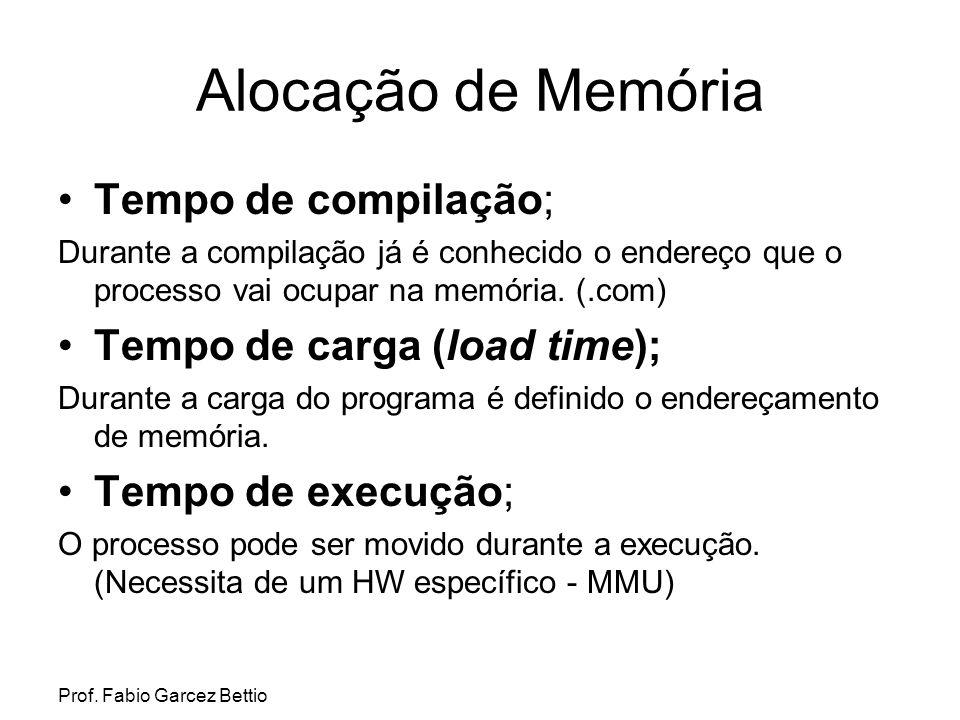 Prof. Fabio Garcez Bettio Alocação de Memória Tempo de compilação; Durante a compilação já é conhecido o endereço que o processo vai ocupar na memória
