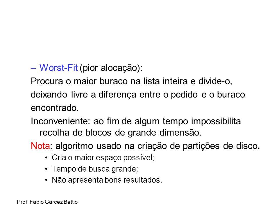 Prof. Fabio Garcez Bettio –Worst-Fit (pior alocação): Procura o maior buraco na lista inteira e divide-o, deixando livre a diferença entre o pedido e