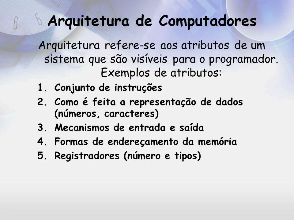 Organização X Arquitetura Questão para o arquiteto do sistema Vale a pena ter uma instrução que faça multiplicação.