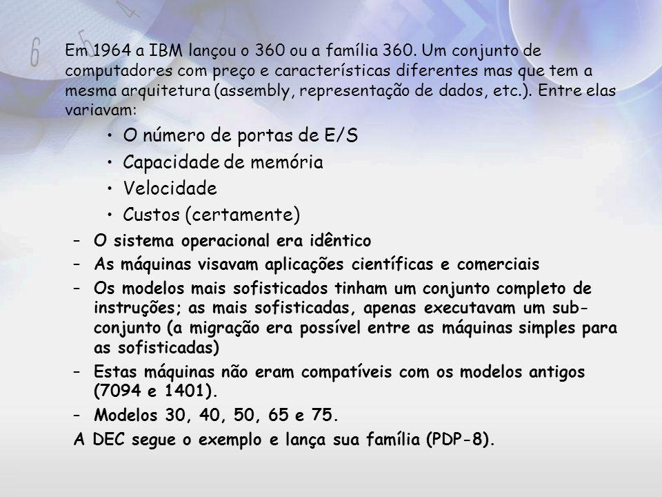 Exemplo conhecido de arquitetura Arquitetura do 86 (início com o 8086 em 1978): segue o 8088, 80286, 80386, 80486, Pentium, Pentium MMX, Pentium Pro, Pentium II, Pentium III e Pentium IV De um processador para outro foram introduzidas novas instruções (Pentium executa todos programas do 8086, mas o inverso não é verdade) Família 86