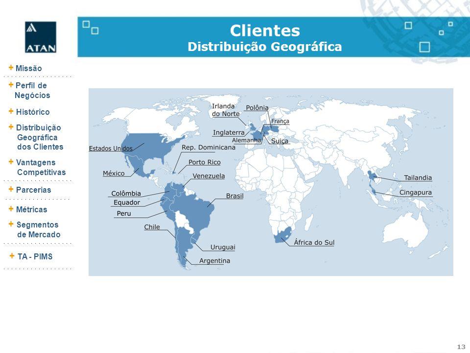 13 + Missão + Perfil de Negócios + Histórico + Vantagens Competitivas + Parcerias + Métricas + Segmentos de Mercado + TA - PIMS + Distribuição Geográf