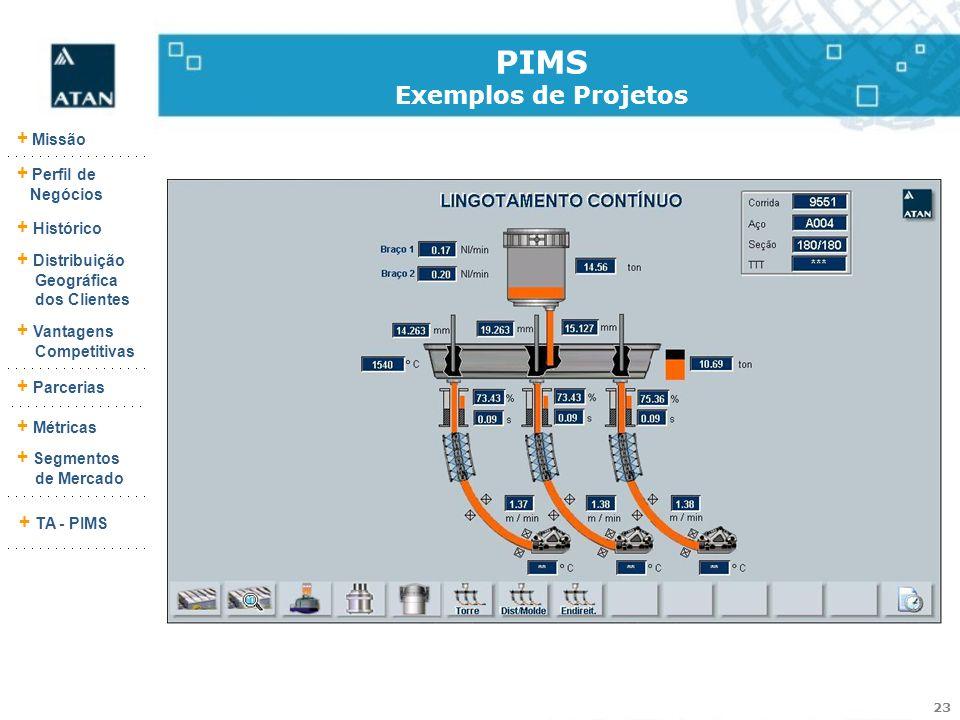 23 + Missão + Perfil de Negócios + Histórico + Vantagens Competitivas + Parcerias + Métricas + Segmentos de Mercado + TA - PIMS + Distribuição Geográf