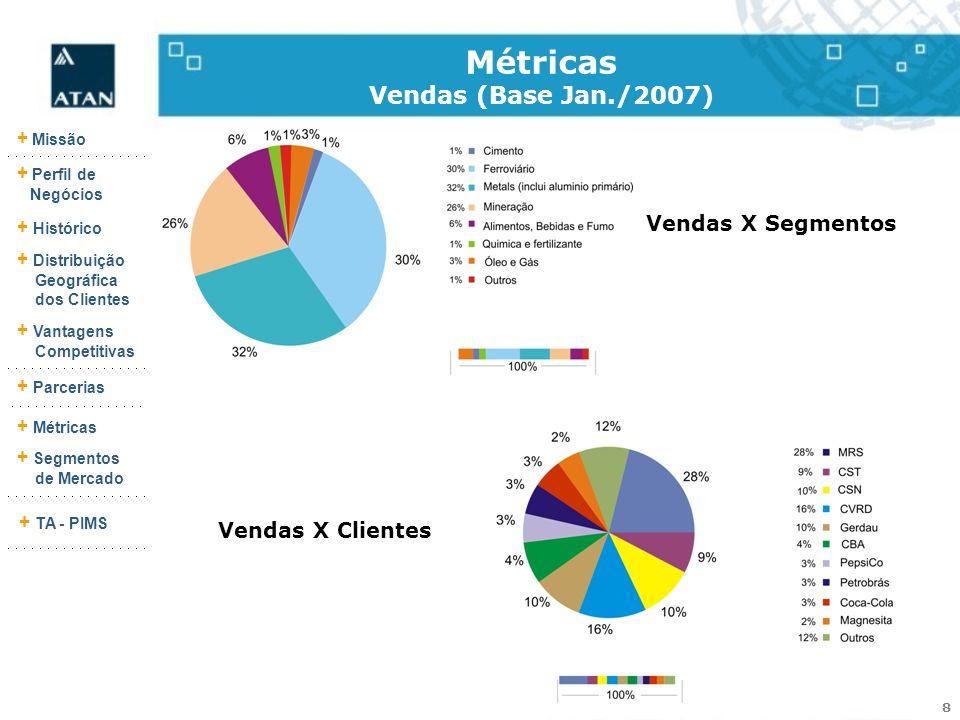 8 + Missão + Perfil de Negócios + Histórico + Vantagens Competitivas + Parcerias + Métricas + Segmentos de Mercado + TA - PIMS + Distribuição Geográfi