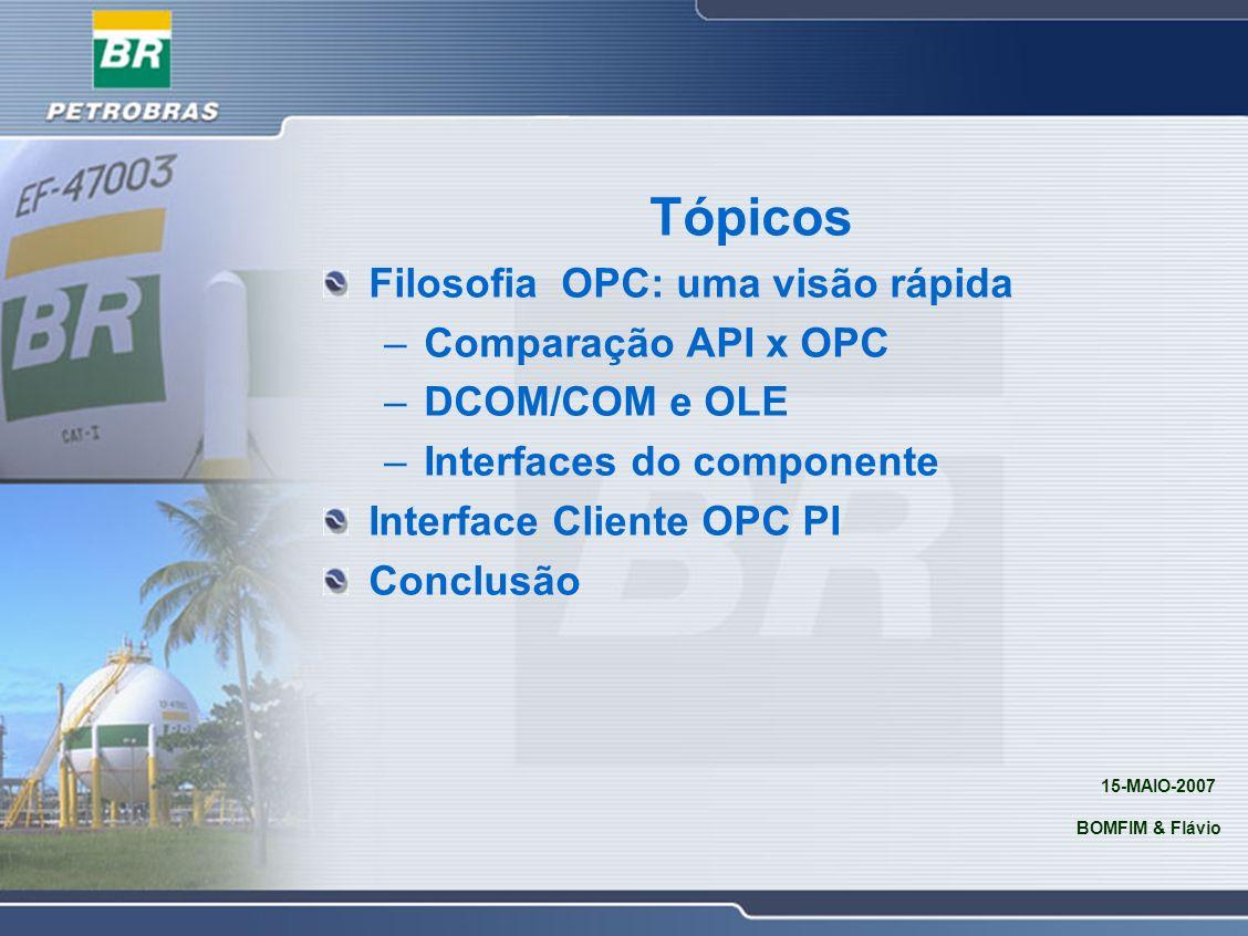 Tópicos Filosofia OPC: uma visão rápida –Comparação API x OPC –DCOM/COM e OLE –Interfaces do componente Interface Cliente OPC PI Conclusão 15-MAIO-200