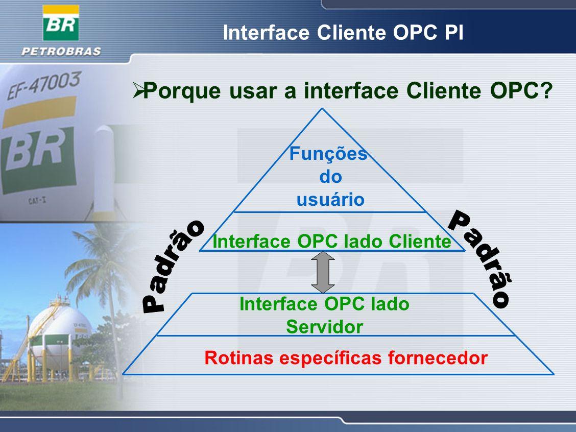 Porque usar a interface Cliente OPC? Interface OPC lado Cliente Funções do usuário Rotinas específicas fornecedor Interface OPC lado Servidor