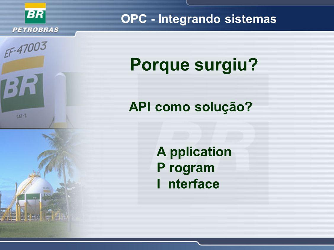 OPC - Integrando sistemas Porque surgiu? API como solução? A pplication P rogram I nterface