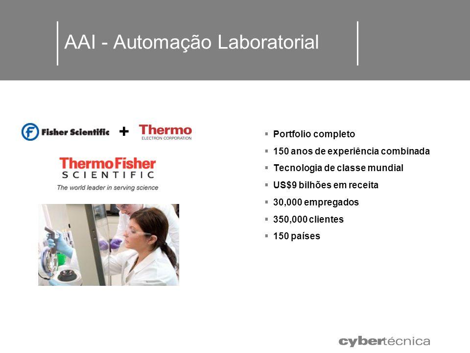 AAI - Automação Laboratorial + + Portfolio completo 150 anos de experiência combinada Tecnologia de classe mundial US$9 bilhões em receita 30,000 empr