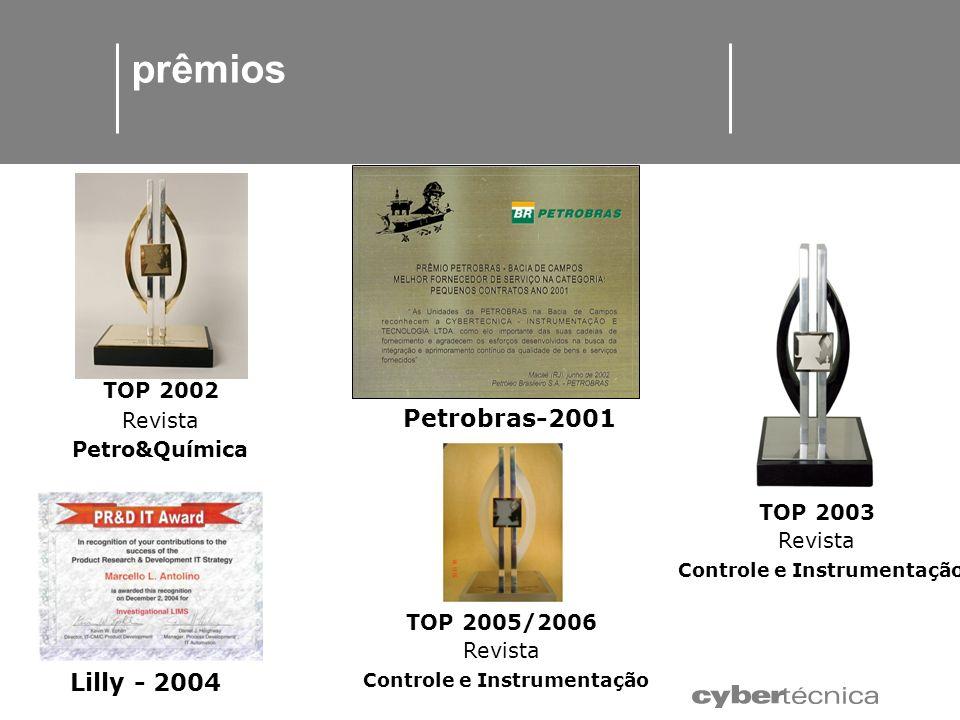 prêmios Petrobras-2001 TOP 2002 Revista Petro&Química TOP 2003 Revista Controle e Instrumentação Lilly - 2004 TOP 2005/2006 Revista Controle e Instrum