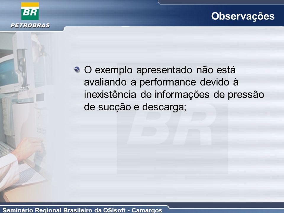 Seminário Regional Brasileiro da OSIsoft - Camargos Observações O exemplo apresentado não está avaliando a performance devido à inexistência de inform