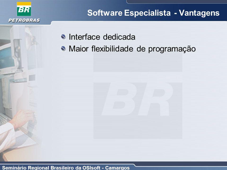 Seminário Regional Brasileiro da OSIsoft - Camargos Software Especialista - Vantagens Interface dedicada Maior flexibilidade de programação