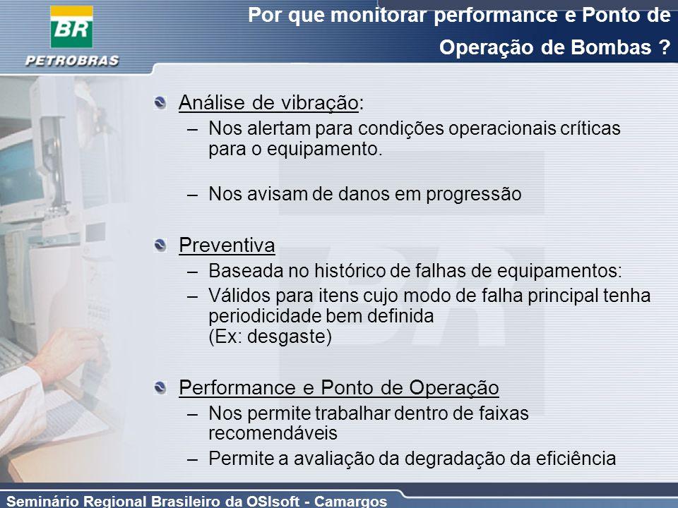 Seminário Regional Brasileiro da OSIsoft - Camargos Por que monitorar performance e Ponto de Operação de Bombas ? Análise de vibração: –Nos alertam pa