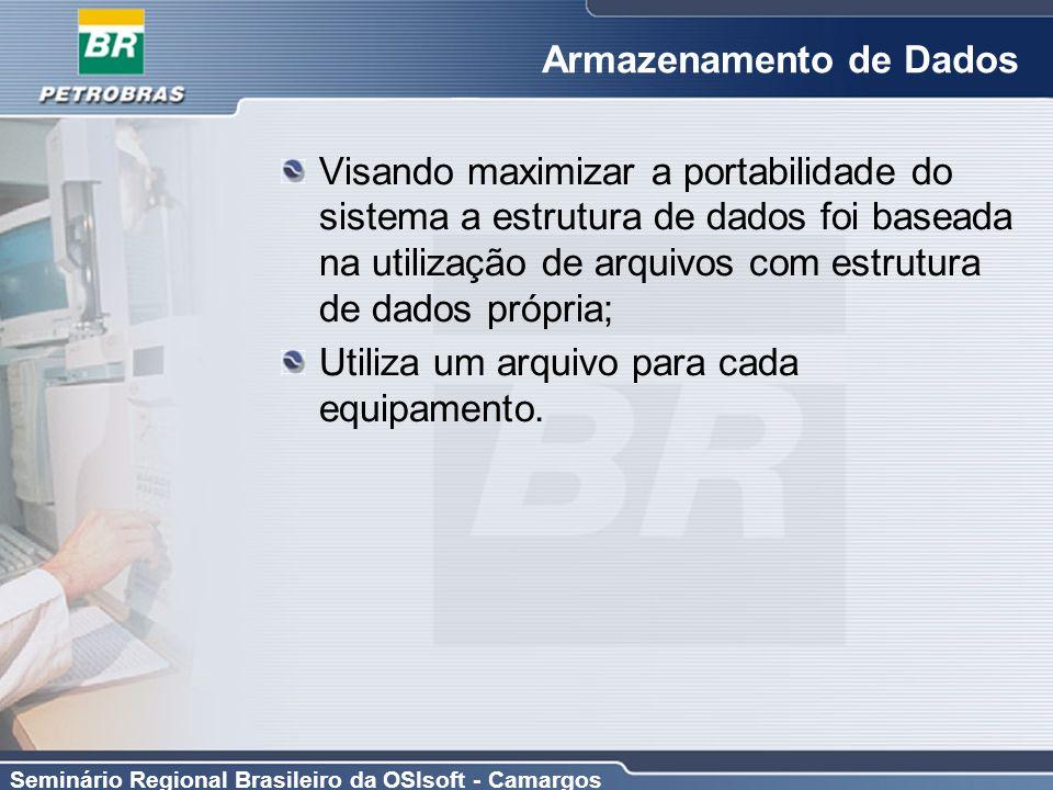 Seminário Regional Brasileiro da OSIsoft - Camargos Armazenamento de Dados Visando maximizar a portabilidade do sistema a estrutura de dados foi basea