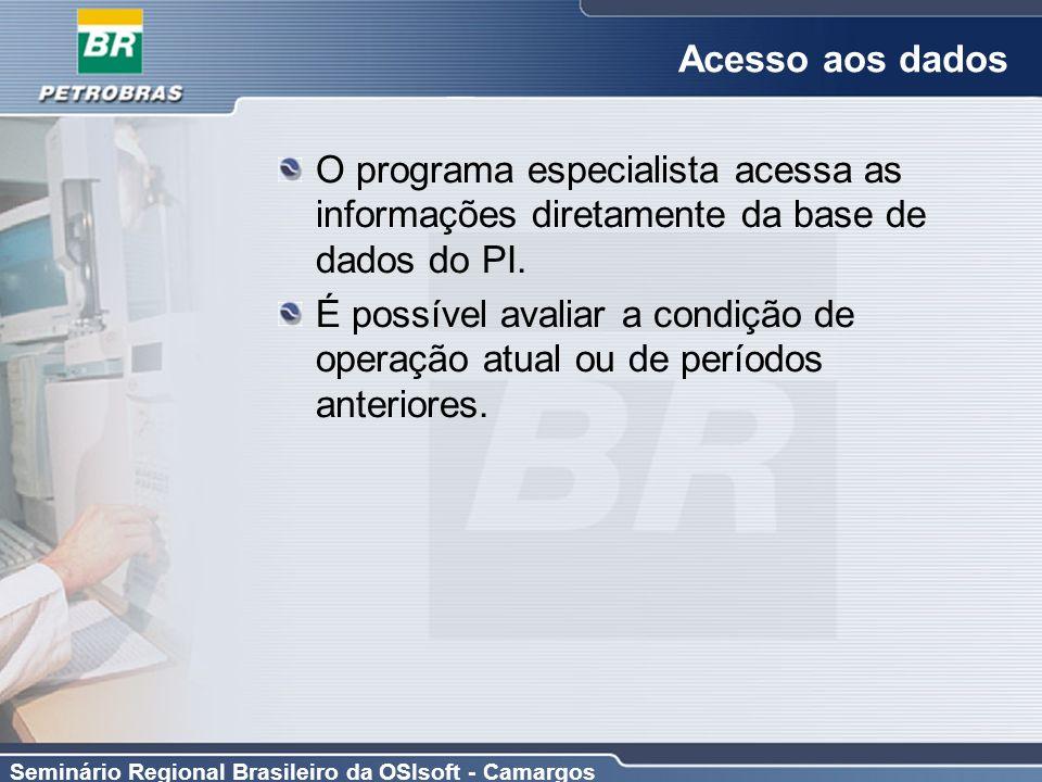 Seminário Regional Brasileiro da OSIsoft - Camargos Acesso aos dados O programa especialista acessa as informações diretamente da base de dados do PI.