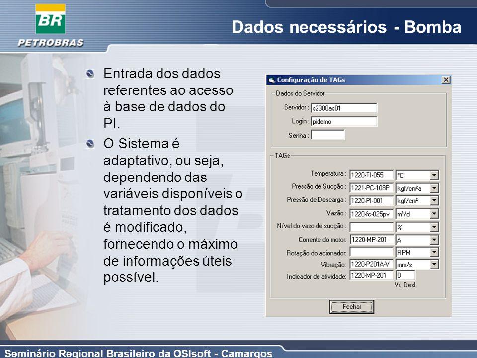 Seminário Regional Brasileiro da OSIsoft - Camargos Dados necessários - Bomba Entrada dos dados referentes ao acesso à base de dados do PI. O Sistema