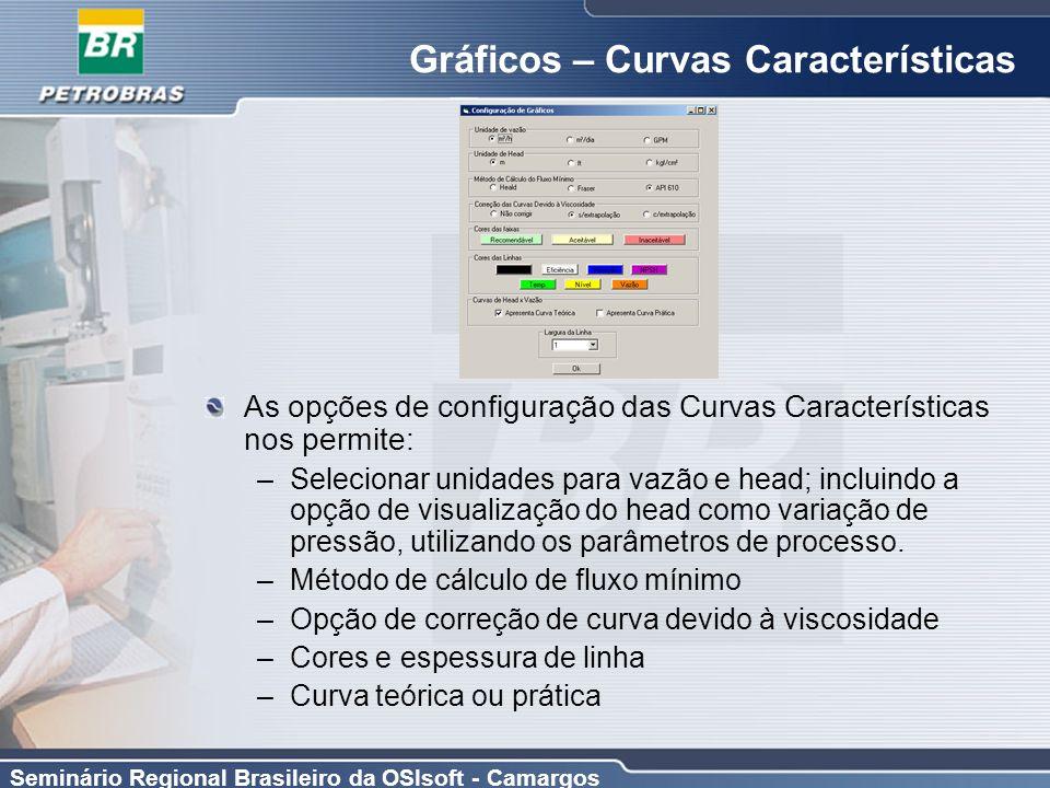 Seminário Regional Brasileiro da OSIsoft - Camargos Gráficos – Curvas Características As opções de configuração das Curvas Características nos permite