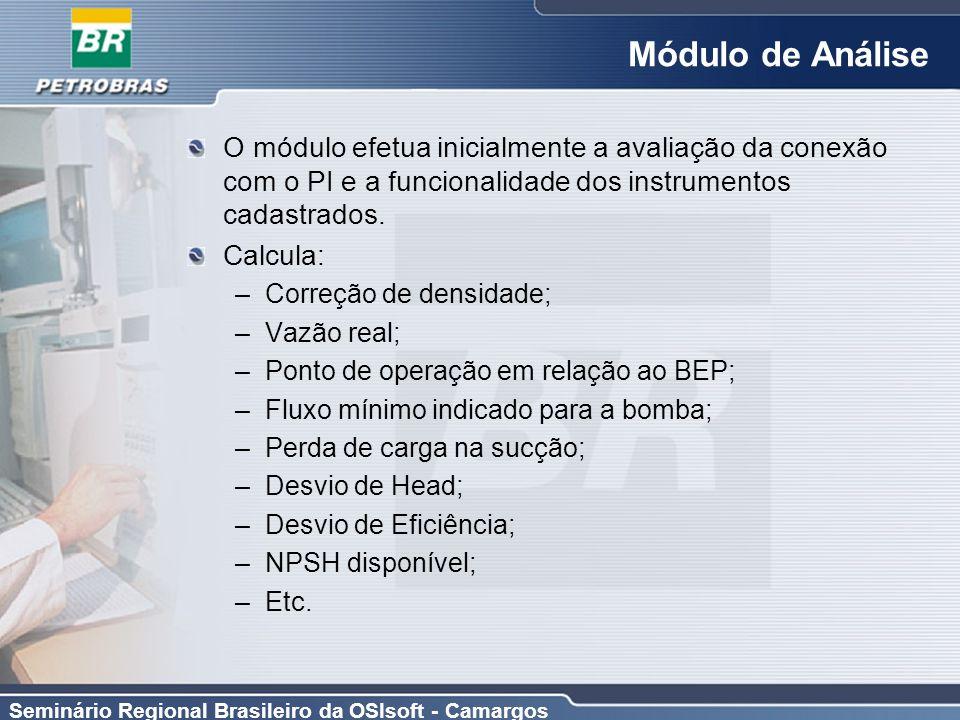 Seminário Regional Brasileiro da OSIsoft - Camargos Módulo de Análise O módulo efetua inicialmente a avaliação da conexão com o PI e a funcionalidade