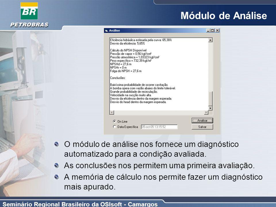 Seminário Regional Brasileiro da OSIsoft - Camargos Módulo de Análise O módulo de análise nos fornece um diagnóstico automatizado para a condição aval